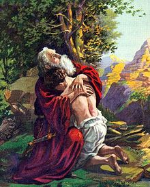 image: Abraham embraces Isaac after the binding