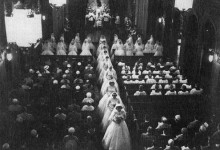 postulants in bridal gowns